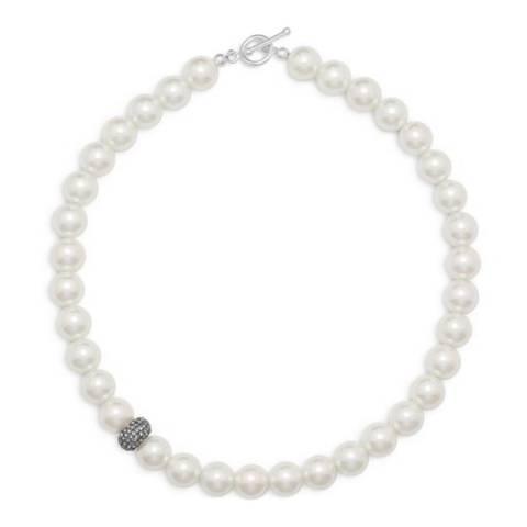 White label by Liv Oliver Sterling Silver Embellished Pearl Necklace