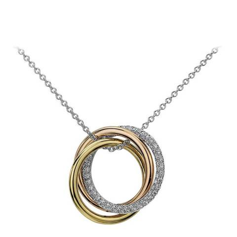 Black Label by Liv Oliver 18K Tri Colour Infinity Cz Necklace