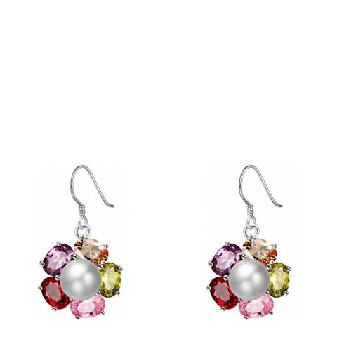 Alexa by Liv Oliver Pearl Multi Colour Stone Drop Earrings