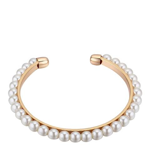 White label by Liv Oliver 18k Gold Pearl Cuff Bangle