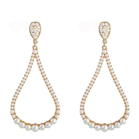 White label by Liv Oliver 18k Gold Open Pear Shape Pearl Earrings
