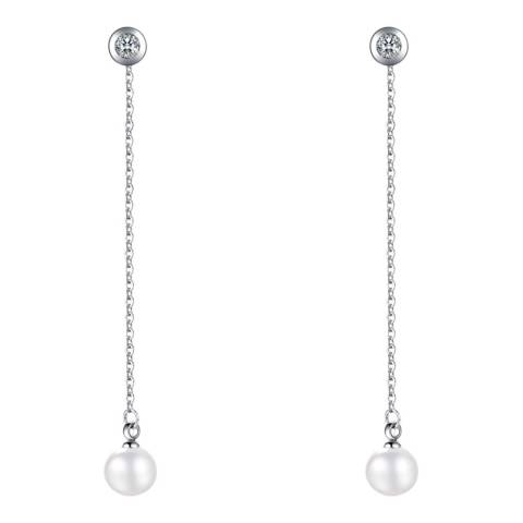 White label by Liv Oliver Silver Pearl CZ Chain Earrings