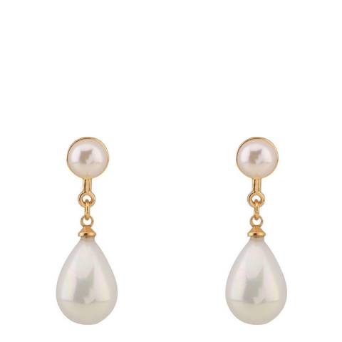White label by Liv Oliver 18k Gold Double Pearl Drop Earrings
