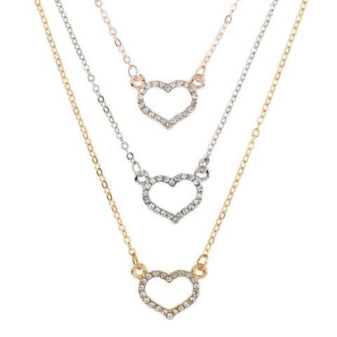 Black Label by Liv Oliver 18k Tri Color Open Heart Crystal Necklace