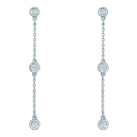 Black Label by Liv Oliver Silver Cz Chain Drop Earrings