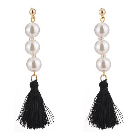 White label by Liv Oliver 18k Gold Pearl and Black Tassel Earrings