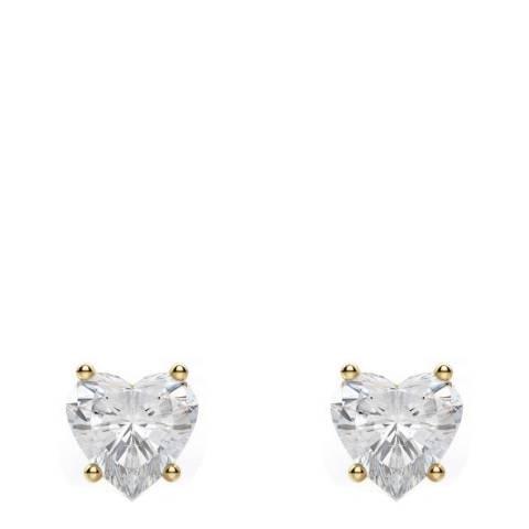 Black Label by Liv Oliver 18k Gold Heart Cz Stud Earrings