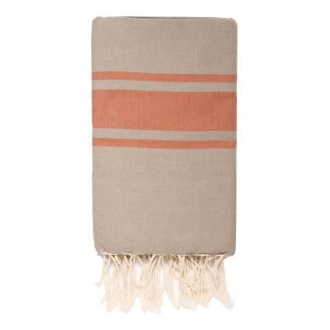 Febronie St Tropez Hammam Towel, Light Taupe/Terracotta
