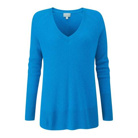 Pure Collection Peacock Blue Gassato Lofty Textured V Neck Sweater
