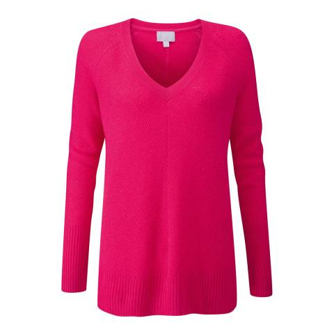 Pure Collection Raspberry Gassato Lofty Textured V Neck Sweater