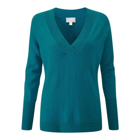 Pure Collection Teal Wide V Neck Cashmere Jumper