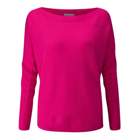 Pure Collection Raspberry Cashmere Dolman Sleeve Textured Sweater