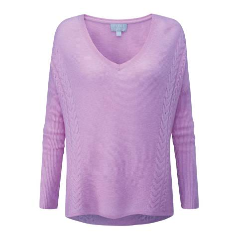 Pure Collection Lilac Gassato Cable V Neck Sweater