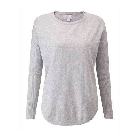 Pure Collection Heather Dove Ultra Soft Merino Split Back Sweater