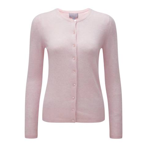 Pure Collection Rose Mist Cashmere Crew Neck Cardigan