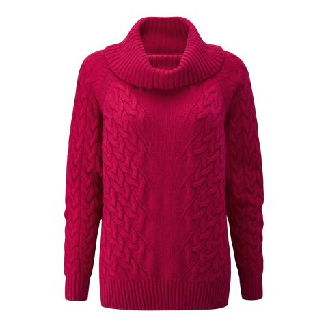 Pure Collection Crimson Cashmere Luxe Cable Sweater