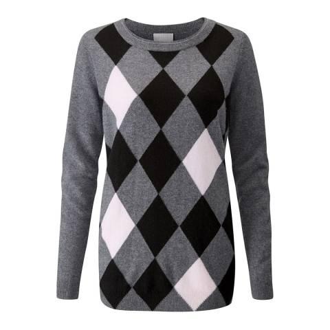 Pure Collection Charcoal Argyle Cashmere Boyfriend Jumper