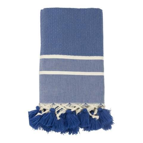 Febronie Stockholm Chevron Hammam Throw, Greek Blue