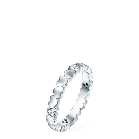 Ponte Povello Silver Zirconia Heart Ring