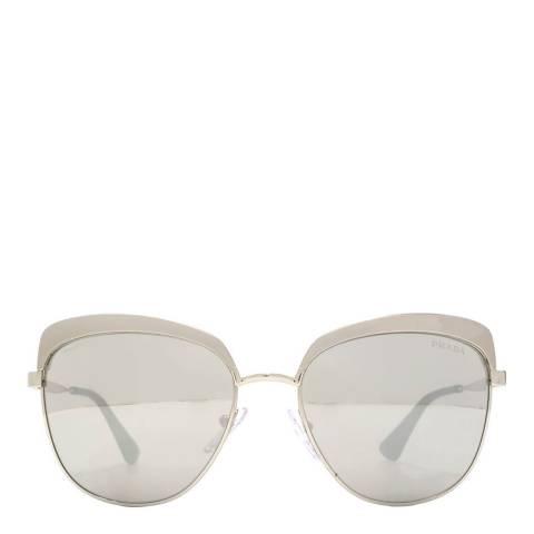 Prada Women's Metalised Silver Prada Sunglasses 56mm