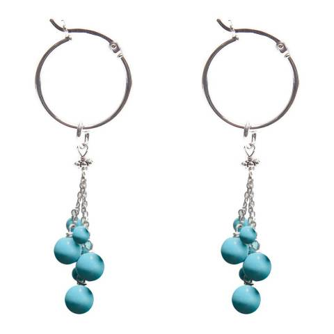 Alexa by Liv Oliver Silver Hoop Earrings with Turquoise Drops