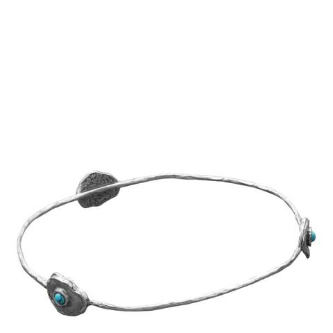 Liv Oliver Silver Turquoise Station Bangle