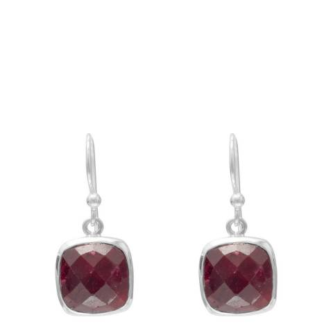 Alexa by Liv Oliver Silver / Ruby Cushion Drop Earrings