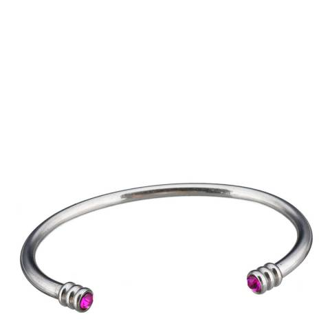 Alexa by Liv Oliver Pink/Silver Plated Open Cuff Topaz Bangle