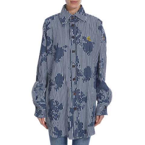 Vivienne Westwood Navy/Rose Stripe Print Chaos Shirt