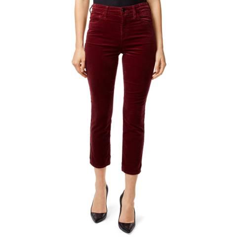 J Brand Oxblood Ruby Velveteen Cigarette Stretch Jeans
