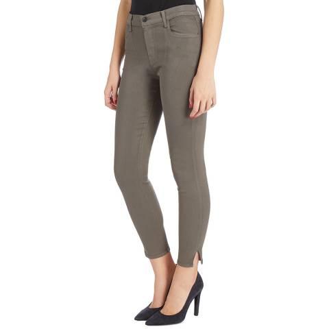 J Brand Dark Green Alana Coated Skinny Stretch Jeans