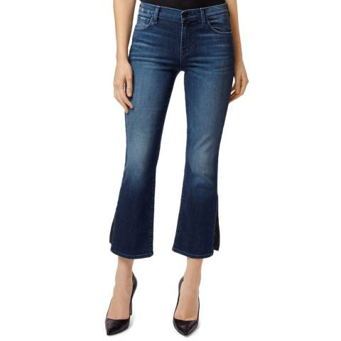 J Brand Dark Denim Selena Mid Rise Cropped Stretch Boot Cut Jeans