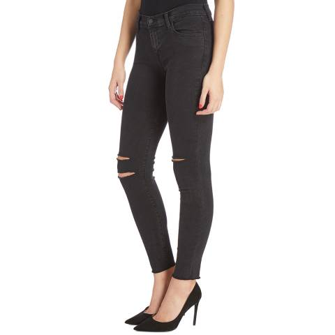 J Brand Black Skinny Ripped Cotton Jeans