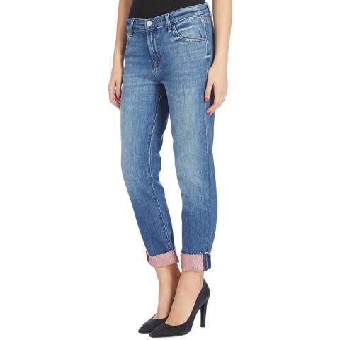 J Brand Blue Wash Johnny Glitter Cuff Boyfriend Jeans