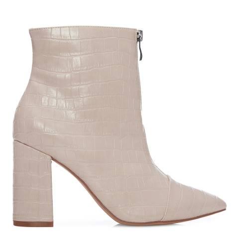 Moda in Pelle Nude Keena Croc Ankle Boots