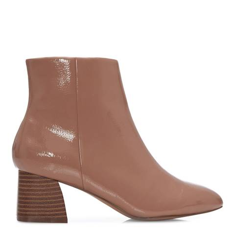 Moda in Pelle Nude Patent Macia Ankle Boots