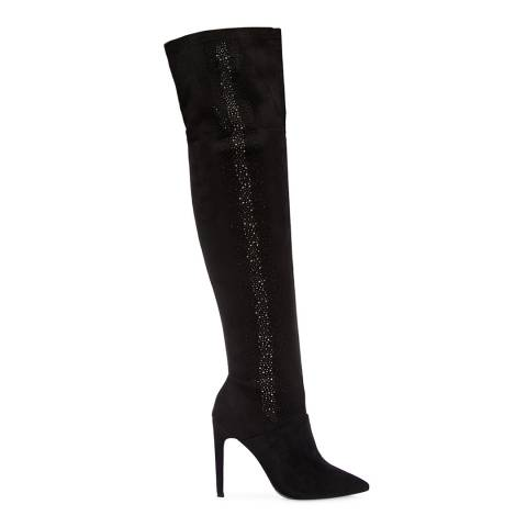 Moda in Pelle Black Suede Youla Long Boots