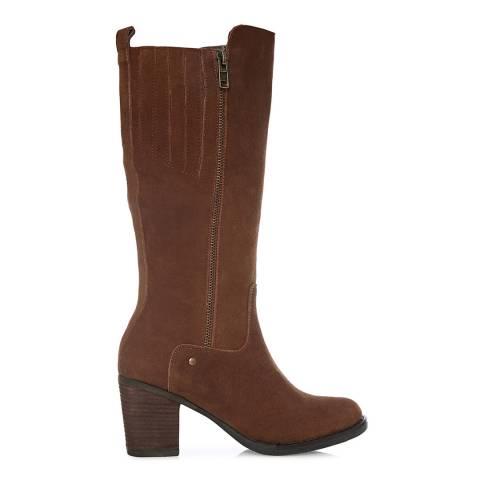 Moda in Pelle Tan Suede Bettrie Long Boots