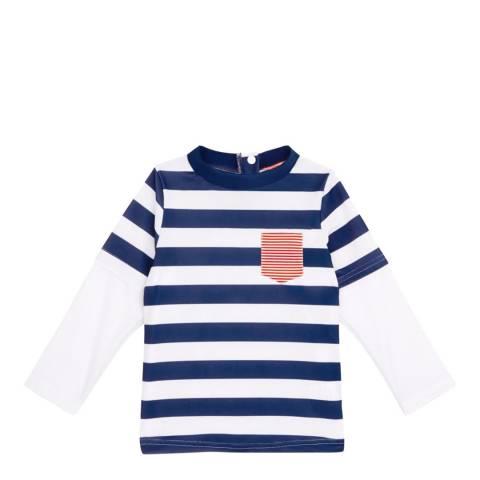 Sunuva Baby Boys Navy and White Striped Paper Boat Rash Vest