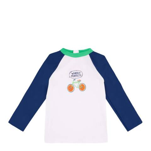 Sunuva Baby Boys Blue and White Fruit Bikes Rash Vest