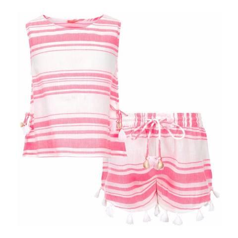 Sunuva Girls Pink and White Short Set