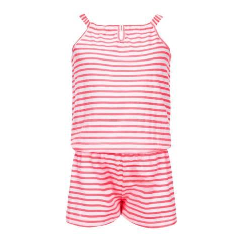 Sunuva Girls Neon Pink and White Jersey Playsuit