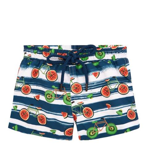 Sunuva Baby Boys Blue and White Fruit Bikes Swim Short