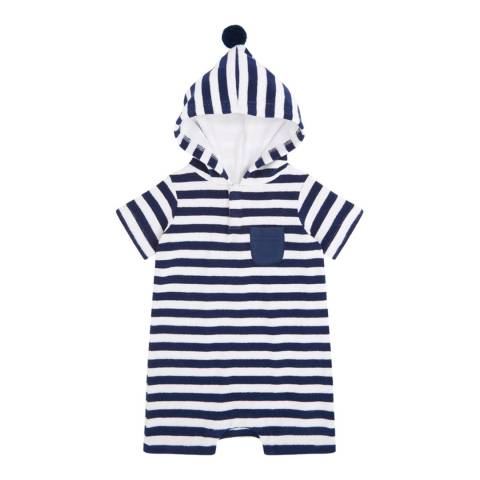 Sunuva Baby Boys Blue and White Stripe Towelling Onesie