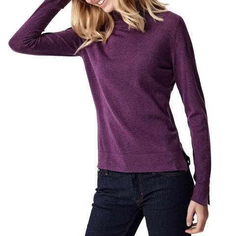 Manode Purple Mock Neck Wool and Cashmere Blend Slim Fit Jumper