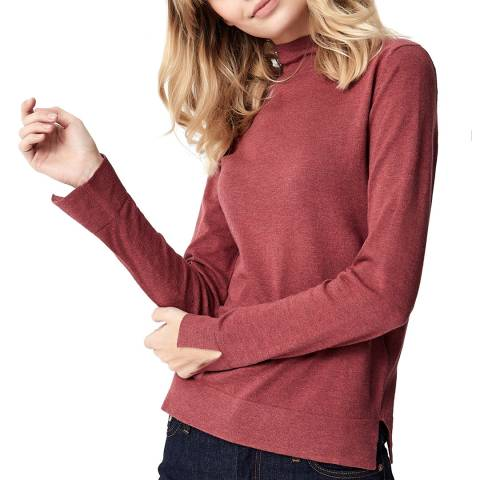 Manode Red Mock Neck Wool and Cashmere Blend Slim Fit Jumper