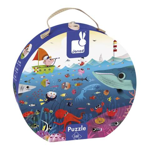 Janod 100 Piece Underwater World Round Suitcase Puzzle
