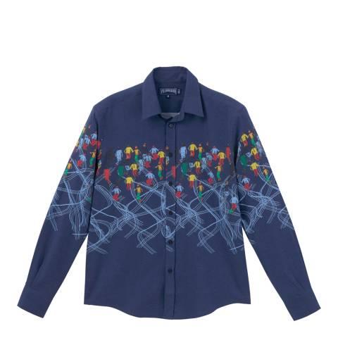 Vilebrequin Navy Blue Ski Print Cotton Shirt