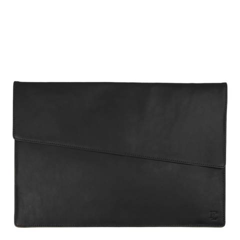 Forbes & Lewis Black Lancing Leather Laptop Case 15 Inch
