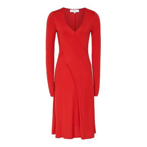 Reiss Red Carini Wrap Dress